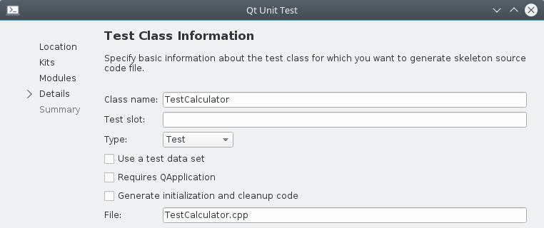 Qt Creator Qt Unit Test template project details