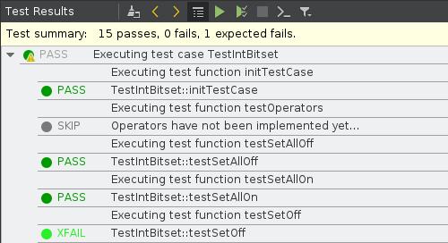 Qt Creator test results panel