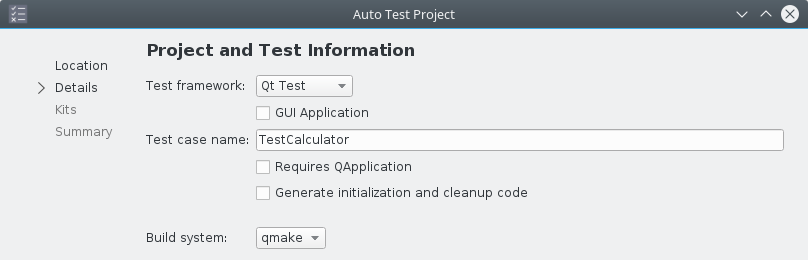 Qt Creator template autotest project details