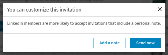 Add connection on Linkedin dialog