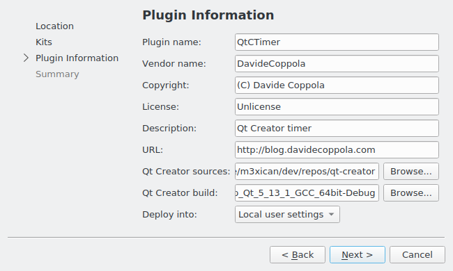 How to create a Qt Creator plugin in C++ - plugin information wizard page